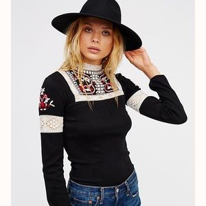 NEW Free People Cozy On Embroidered Shirt